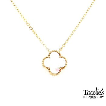 White Mother Of Pearl Clover Pendant Necklace