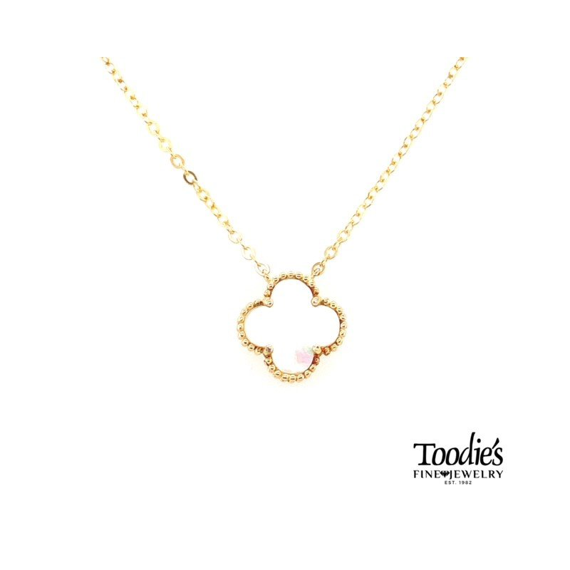Toodie's Signature Fashion White Mother Of Pearl Clover Pendant Necklace