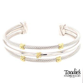 Diamond Triple Row Cuff Bracelet