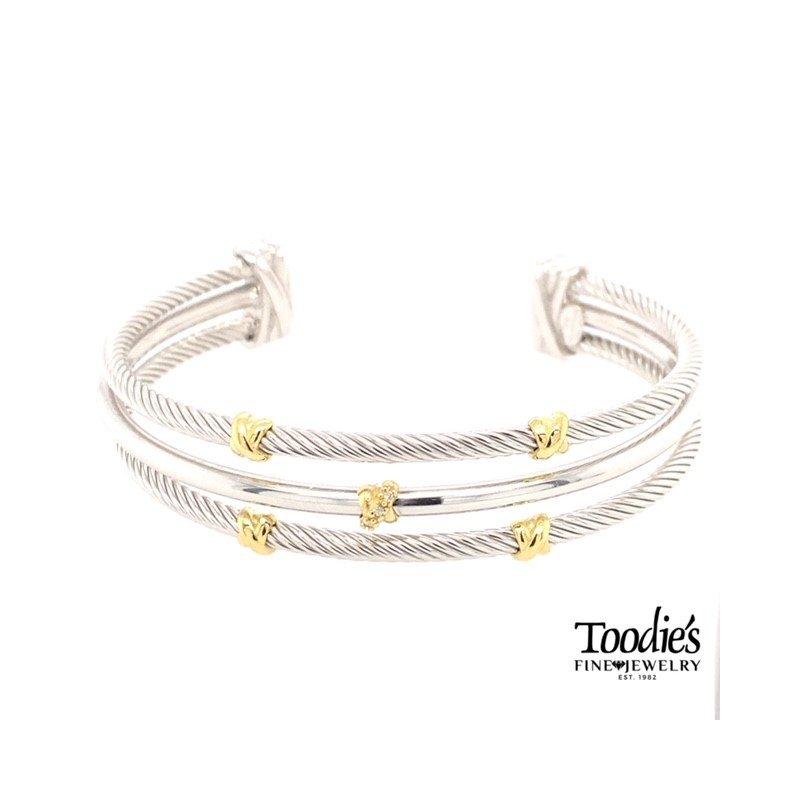 Phillip Gavriel Diamond Triple Row Cuff Bracelet