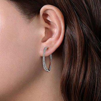 Beaded White Sapphire Hoop Earrings