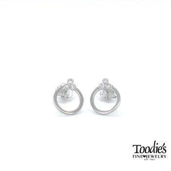 Dainty Circle Diamond Studded Earrings