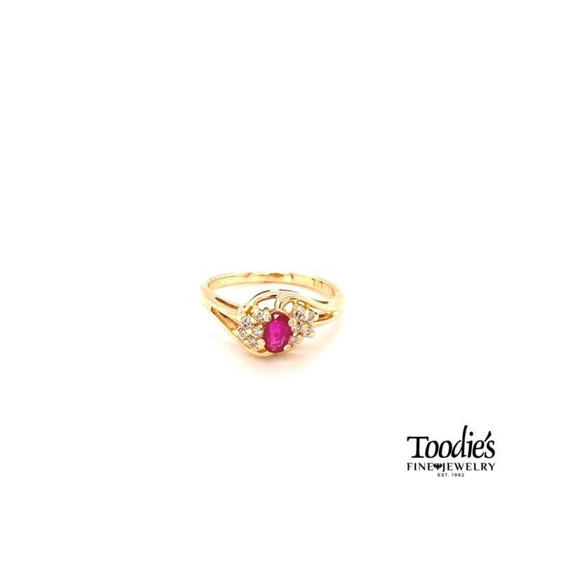 Toodie's Signature Fashion Ruby And Diamond Cluster Ring