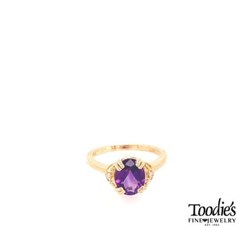 Vintage Inspired Amethyst and Diamond 3 Stone Ring