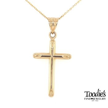 Gold Plain Polish Cross Necklace