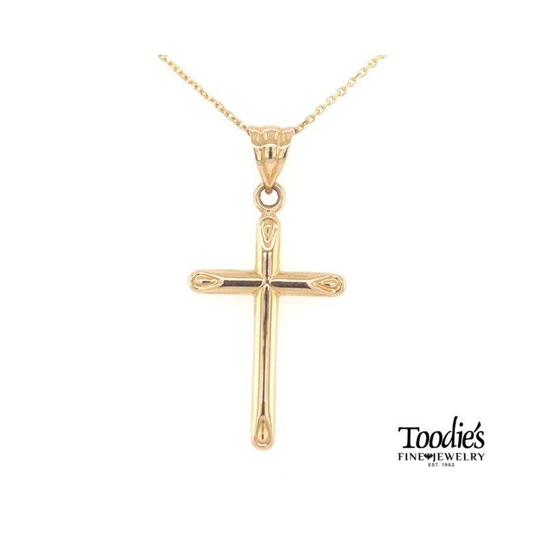 Toodie's Signature Fashion Gold Plain Polish Cross Necklace