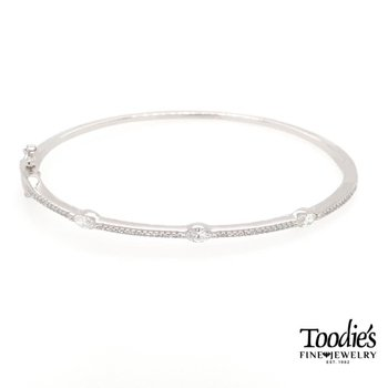 Diamonds Alternating Shape Bangle Bracelet