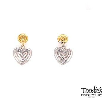 Swirly Dangle Drop Heart Studded Earrings
