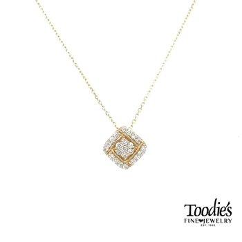 Sideways Square Diamond Cluster Pendant