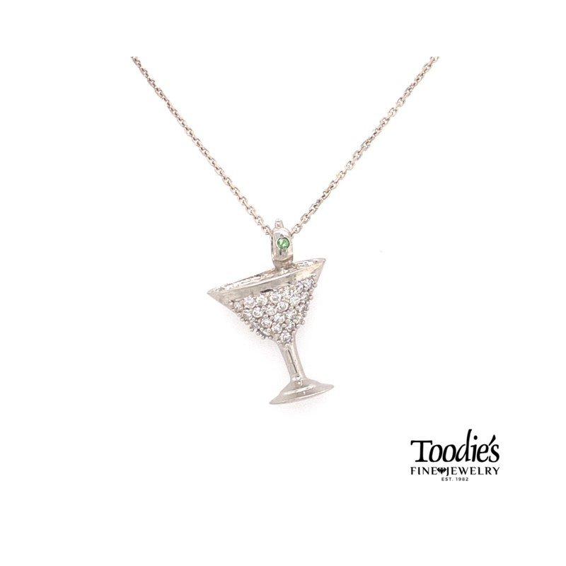 Toodie's Signature Fashion Classic Diamond Martini Glass Necklace