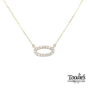 Sideways Oval Diamond Necklace