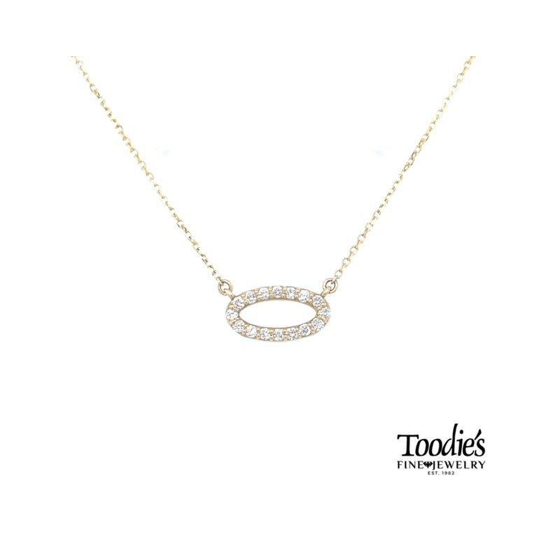 Toodie's Signature Fashion Sideways Oval Diamond Necklace