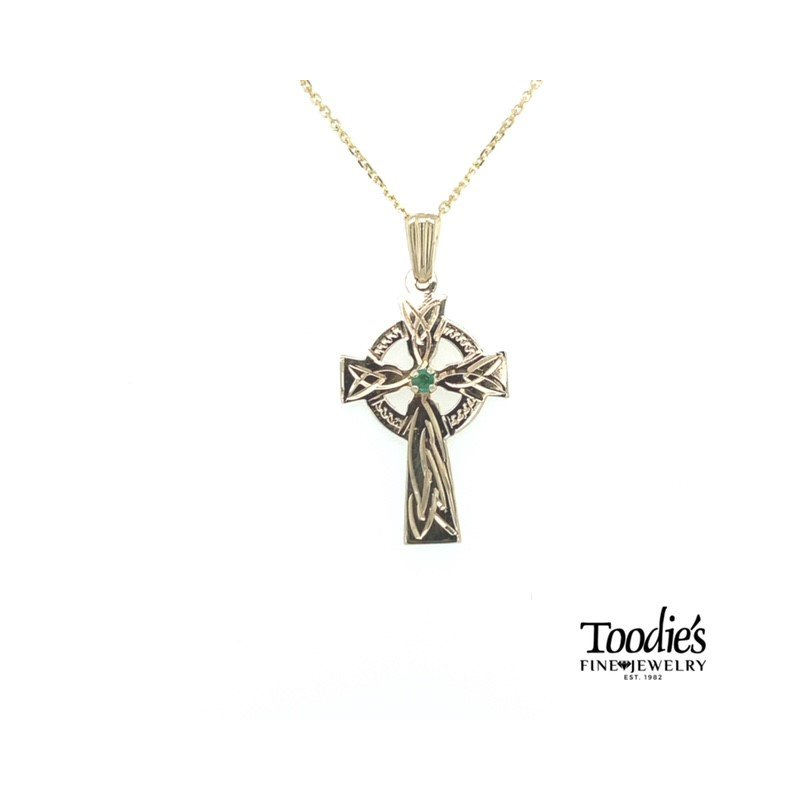 Toodie's Signature Fashion Gold Celtic Cross with Emerald