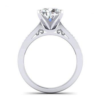 Tapered Milgrain Design Diamond Engagement Ring