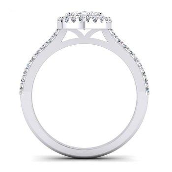 Marquise Shaped Diamond Halo Engagement Ring