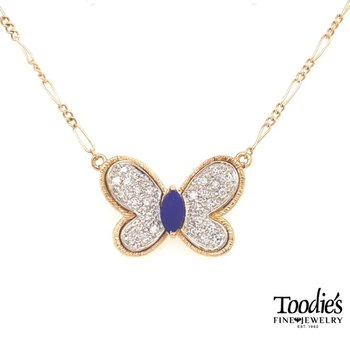 Vintage Toodie Jacobs Design Lapis and Diamond Butterfly Necklace
