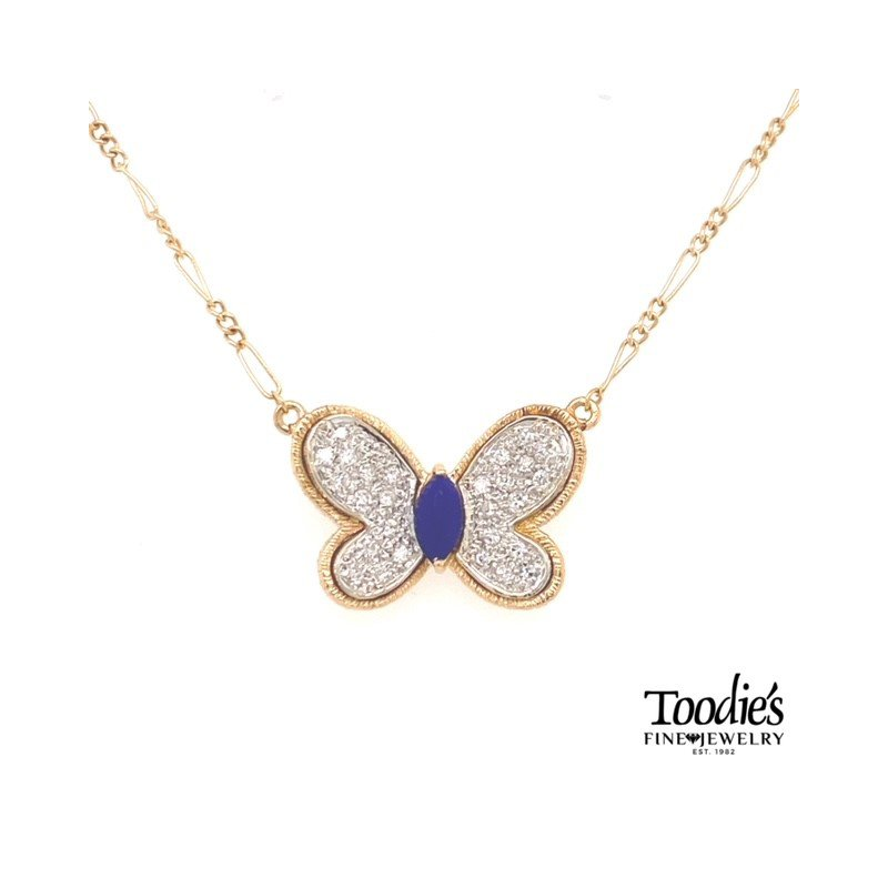 Toodie's Signature Fashion Vintage Toodie Jacobs Design Lapis and Diamond Butterfly Necklace
