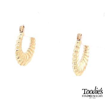 Oval Textured Hoop Earrings