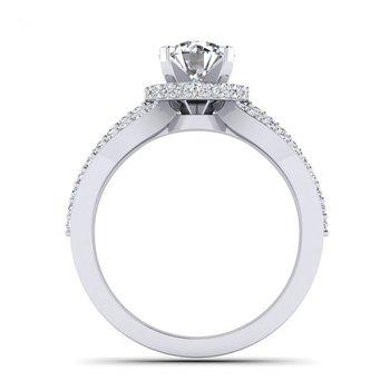 Triple Diamond Row Engagement Ring