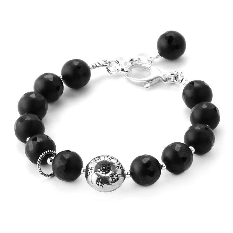 Elisa Ilana Carved Black Agate Bracelet