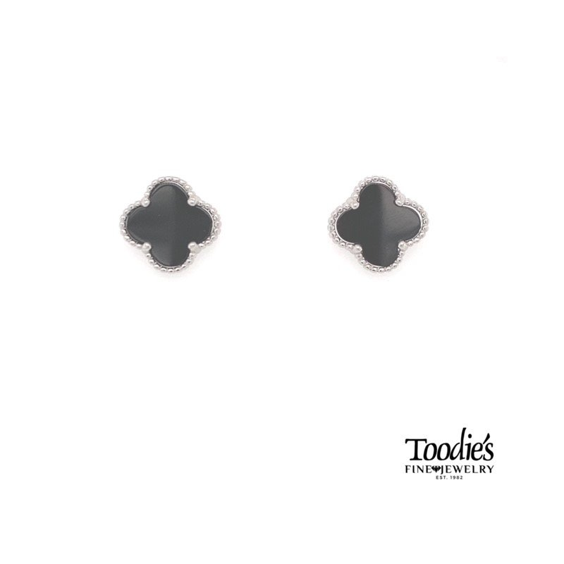 Toodie's Signature Fashion Sterling Silver Black Onyx Mini Clover Studded Earrings.