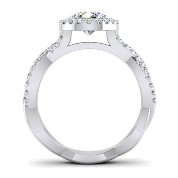 Round Halo and Ribbon Style Design Engagement Ring