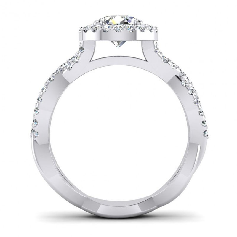 Toodie's Bridal Round Halo and Ribbon Style Design Engagement Ring
