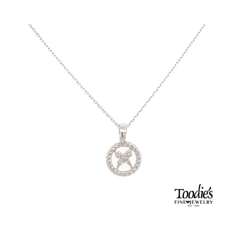 """Phillip Gavriel """"X"""" Pendant With A Rope Halo Necklace"""