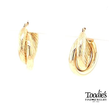 Criss Cross Twisted Design Hoop Earrings
