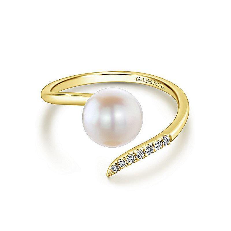 Gabriel Fashion Open Pearl And Diamond Wrap Ring