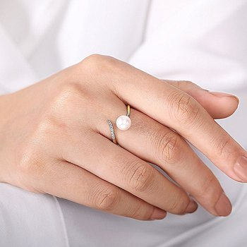 Open Pearl And Diamond Wrap Ring