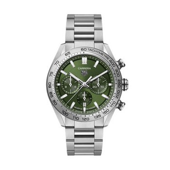 Carrera Automatic Chronograph Watch with Green Dial