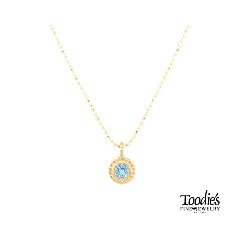 Phillip Gavriel Yellow Gold Blue Topaz Necklace