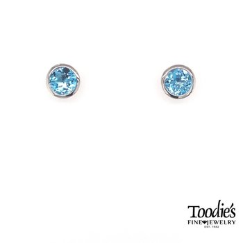 Sterling Silver with Blue Topaz Studded Earrings