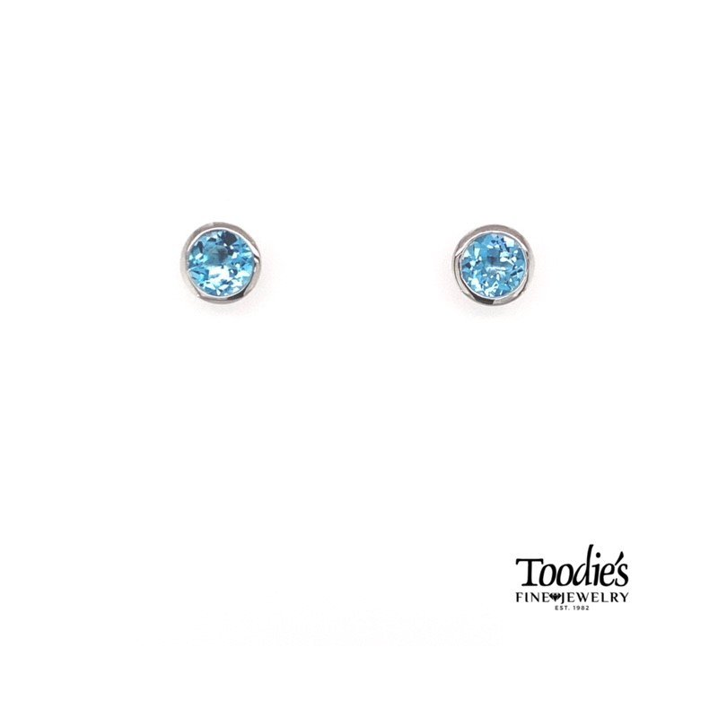 Gabriel Fashion Sterling Silver with Blue Topaz Studded Earrings
