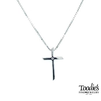 Sterling Silver Polished Diamond Cross with Chain