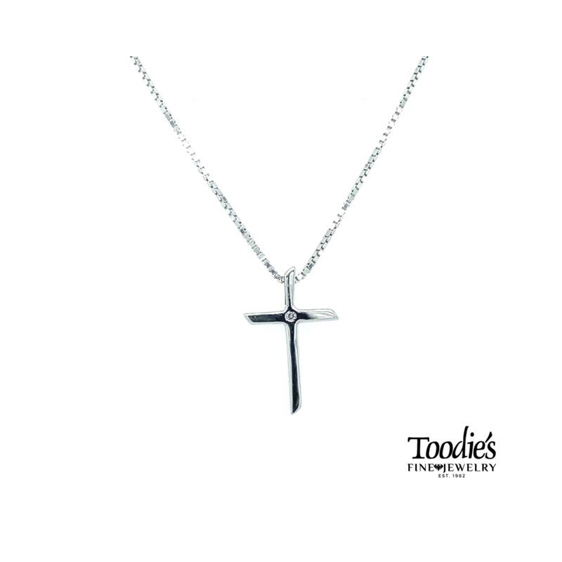 Toodie's Signature Fashion Sterling Silver Polished Diamond Cross with Chain