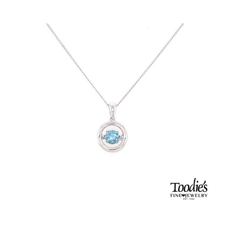 Toodie's Signature Fashion Dancing Blue Topaz Pendant Necklace