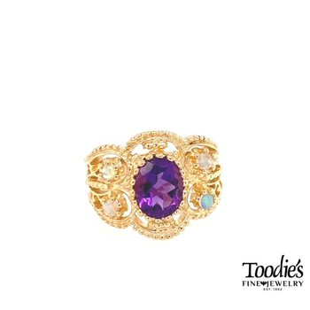 Crowd Favorite Vintage Amethyst & Opal Cocktail Ring