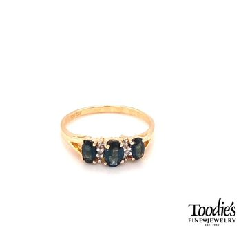 Three Stone Style Sapphire And Diamond Ring