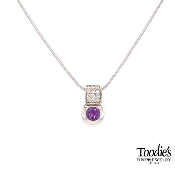White Gold Amethyst And Diamond Necklace