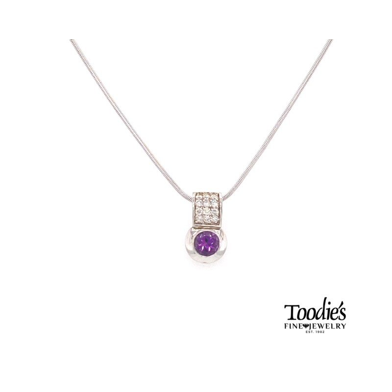 Toodie's Signature Fashion White Gold Amethyst And Diamond Necklace