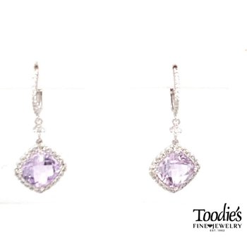 Rose Amethyst And Diamond Halo Dangle Drop Earrings