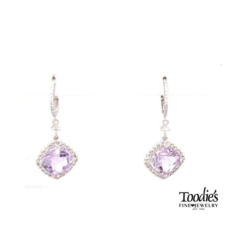 Toodie's Signature Fashion Rose Amethyst And Diamond Halo Dangle Drop Earrings