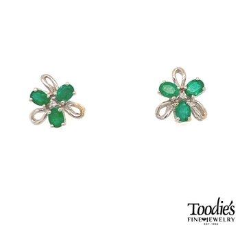 Emerald and Diamond Flower Earrings