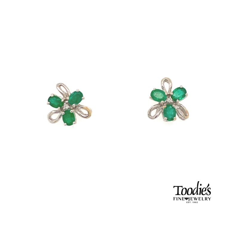 Toodie's Signature Fashion Emerald and Diamond Flower Earrings