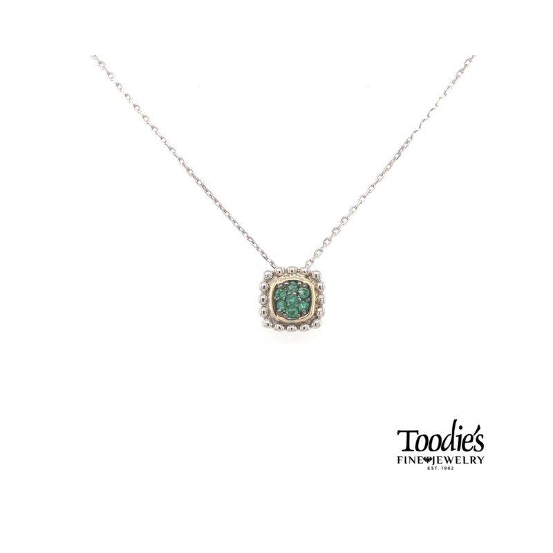 Phillip Gavriel Emerald Pendant Necklace