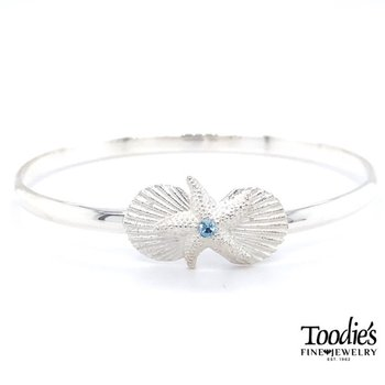 Mixed Shell and Starfish with Blue Topaz Bracelet