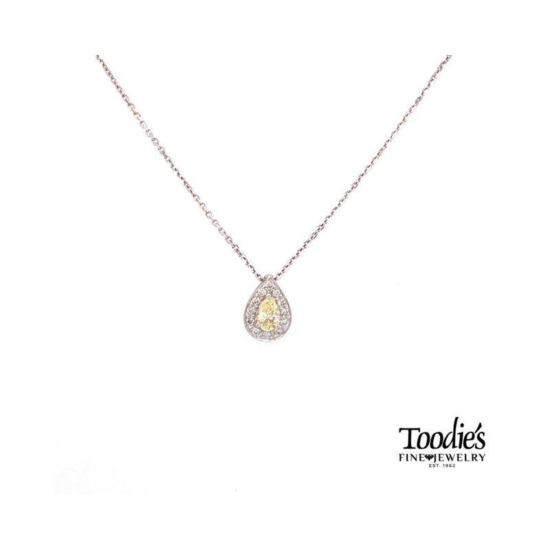Toodie's Signature Fashion Fancy Yellow and White Diamond Halo Pendant
