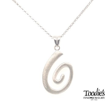 Swirly Polished And Scratched Finish Necklace